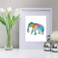 Geometric Elephant Art, 8x10 inch Printable,Instant Download - Elephant Prints, Geometric Elephant, Nursery, Dorm Decor, Multi-Color
