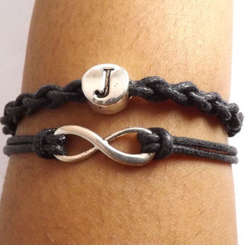 Personalized Infinity Bracelet - Made in USA - Men & Women - Faux Leather - Waxed cotton cord - valentine gift - birthday gift