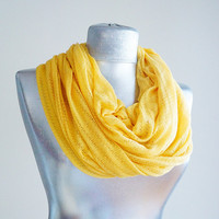 Handmade Yellow Infinity Scarf - Summer Scarf  - Cotton Jersey
