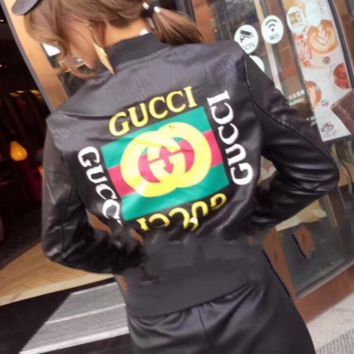 GUCCI Print Leather Long Sleeve Cardigan Jacket Coat