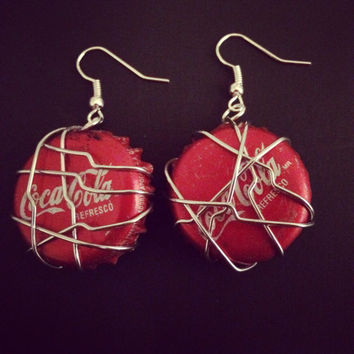 Upcycled Bottle Cap Coca-Cola Earrings. Recycled Jewelry