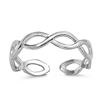 Sterling Silver Braided Infinity Toe Ring/ Knuckle/ Mid-Finger 3MM