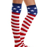 Red Combo Amerciana Over-the-Knee Socks by Charlotte Russe