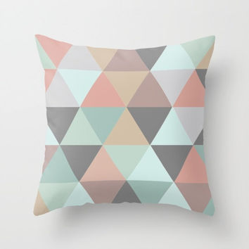 Throw Pillow Decorative Pillow Case Pastel Triangle Mid Century Modern Decor Made to Order Pillow 16x16