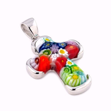 "Sterling Silver Multicolor Glass Murano Millefiori Glass Pendant Cross  (Free 18"" Chain)"