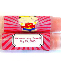 10 Superhero Baby shower Lip balm Favors - custom color & flavor, personalized lip balm, superman baby shower, super hero baby shower, A27