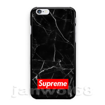 Supreme Black Marble For iPhone 6 6s 6+ 6s+ 7 7+ Print On Hard Case