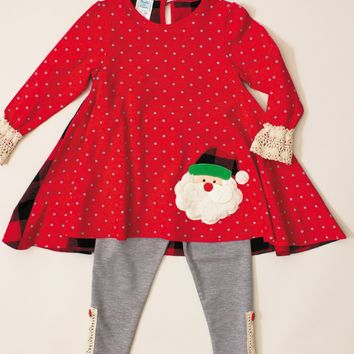 Peaches 'n Cream Girl's Santa Face Tunic and Leggings