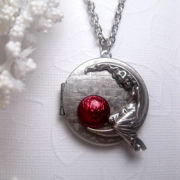Moon Goddess Locket With Shimmer Bright Maroon - Girl On Moon Necklace - Crescent