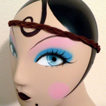 Real leather braided headband