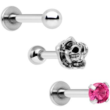 "16 Gauge 1/4"" Pink Gem Rose Flower Cartilage Tragus Earring Set of 3"