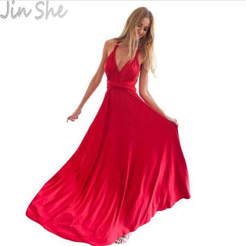2017 Summer Sexy Dress Women Red Beach Long Bandage Multiway Convertible Dresses Infinity Wrap Robe Maxi Dress