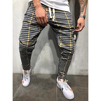 Men's Street Style Checkered Sweatpants Cargo Pants Pocket 4371