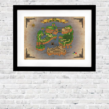 Super Mario World Map, Inspired by the Super Mario Snes Game. in A2, A3 or A4 format