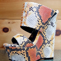"""Nelly Pacs Nude Orange Snake Double Strap Slip On Wedge Shoes - 6"""" Heels"""