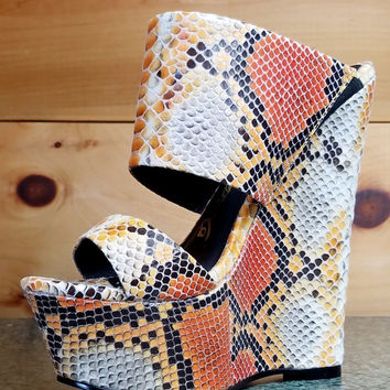 "Nelly Pacs Nude Orange Snake Double Strap Slip On Wedge Shoes - 6"" Heels"