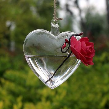 2017 New Fashion Clear Heart Shape Glass Hanging Vase Bottle Terrarium Container Plant Flower Table Wedding Garden Decor