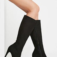 Faux Suede Knee-High Boots (Wide)