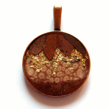 """Unique Amulet """"Globe"""", Mixed Media, Necklace Pendant, Brown Fawn Gold, Metal, OOAK Charm, Mother's Day, Amulet, Collage Jewellery, Charm"""