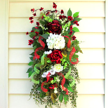Red wreath, Summer swag, front door swag, fall wreath, year round wreath, farmhouse wall decor, french country cottage, floral swags,