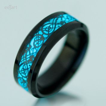 eejart Stainless Steel Luminous Dragon Ring For Men Women Party Prom Personality Jewelry