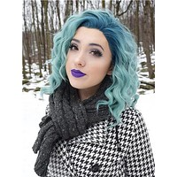 Short Borage Teal Green Ombre Synthetic Lace Front Wig
