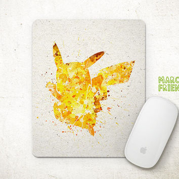 Pikachu Mouse Pad, Pokemon Watercolor Art, Mousepad, Office Deco, Holiday Gift, Art Print, For Kids, Desk Decor, Pocket Monster Accessories