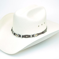 Larry Mahan 10X Oplin Straw Cowboy Hat Brown Band