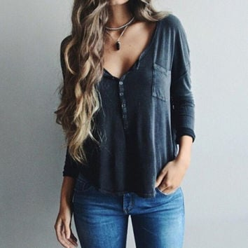 Sexy V-neck long-sleeved solid color shirt