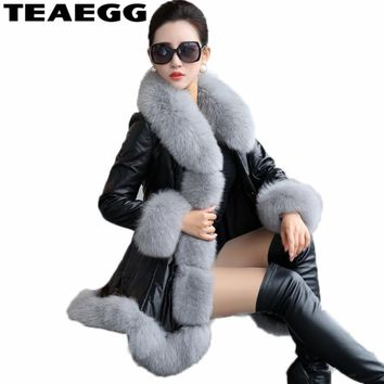 TEAEGG Thick Winter Coat Women's Leather Jacket Female Jaqueta De Couro Feminina Faux Fox Fur Collar PU Leather Jackets 6XL AL97