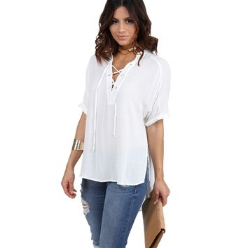 FINAL SALE- White Front Lace Up Tunic