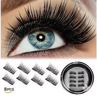 LashLust False Magnetic Eyelashes Premium Set (4 Pcs). Dual Magnets, No Glue, Magic 3D Fake Lashes Extension. Ultra Soft, Natural Look and Handmade. Long and Thick.