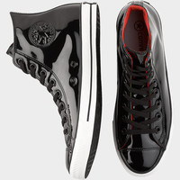 CONVERSE BLACK PATENT LEATHER HIGH-TOP TENNIS SHOES