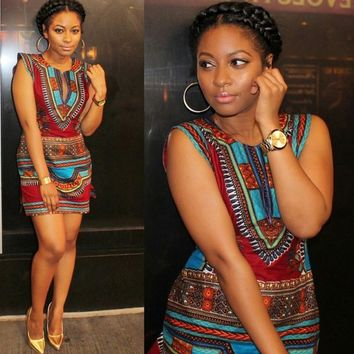 Traditional African Dress Vintage print sleeveless