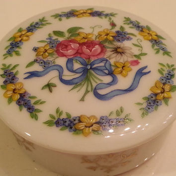 "Vintage Limoges Porcelain Pillbox, Blue Ribbon Tied Bouquet, Pour toi avec amour"" French Porcelain Box, Trinket Jewelry Holder"