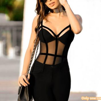 Autumn and winter new V-neck sexy breathable halter wild bottoming shirt sports jumpsuit