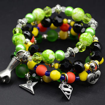 DC Superhero Stretch Bracelet Set of 4 Beaded Jewelry Handmade Bracelet Black Red Green Yellow