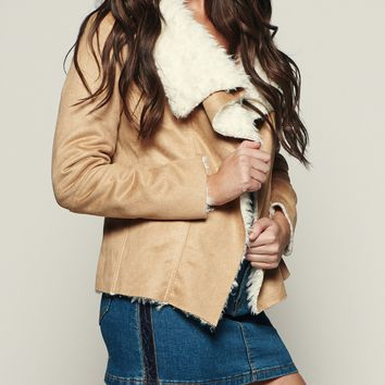 Take A Bow Faux Suede Jacket (Camel)