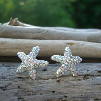Starfish Earrings Crystal-IRIDESCENT SPARKLE-Beach Weddings, Destination Weddings, Bridal Accessories, Bridesmaids Gifts, Beach Jewelry
