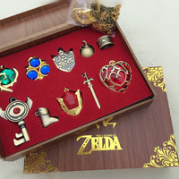 New Arrival The Legend of Zelda Triforce Hylian Shield & Master Sword 10pcs Set Collection