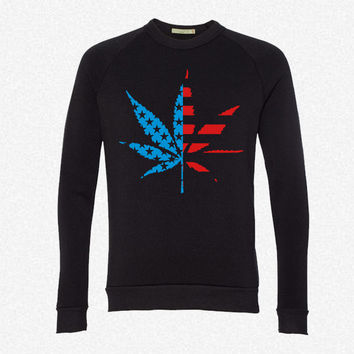 Marijuana Leaf American Flag fleece crewneck sweatshirt