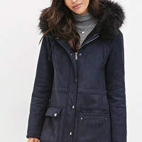 Hooded Faux Suede Parka