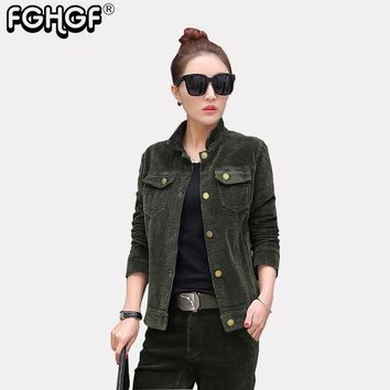 Trendy high quality Spring Jacket Coat Casual Corduroy turn-down collar Autumn Jacket Women Military Slim Coats Jackets 2018 New 3827 AT_94_13