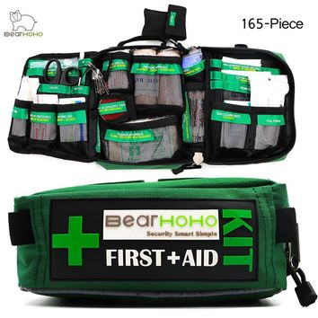 BearHoHo Handy First Aid Kit Bag 165-Piece Emergency Medical Rescue Workplace Outdoors Car Luggage School Hiking 3 Layers pocket