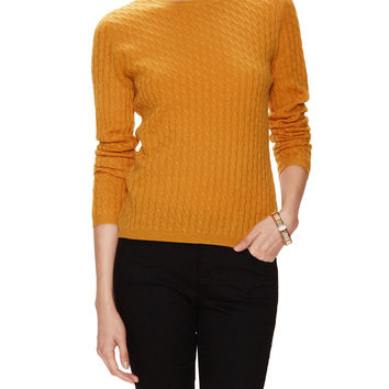 In Cashmere Women's Cashmere Cable Knit Sweater - Orange -
