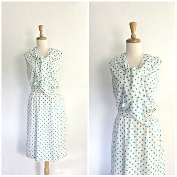 1960s Polka Dot Dress / 60s dress / nautical dress / Eve Le Coq /  shirtwaist /  womens sundress / resort wear /  cotton / Medium Large