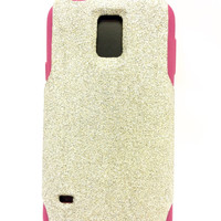 Samsung Galaxy S5 Glitter Otterbox Commuter custom case white gold/pink