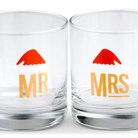 Mr. & Mrs. Holiday Cocktail Glass Set