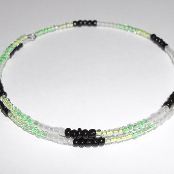 Lime Green Yellow & Black Glass Artisan Crafted Stackable Wrap Bracelet (L-XXL)