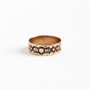 Antique 10K Rose Gold Victorian Baby Ring - Size 1/2 Vintage Late 1800s Eternity Flower Leaf Design Fine Child's Cigar Band Midi Jewelry